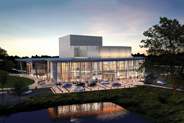 Rendering of the Jay and Susie Gogue Performing Arts Center, a world-class facility opening August 2019.