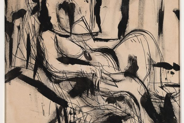 An abstract drawing of a seated woman
