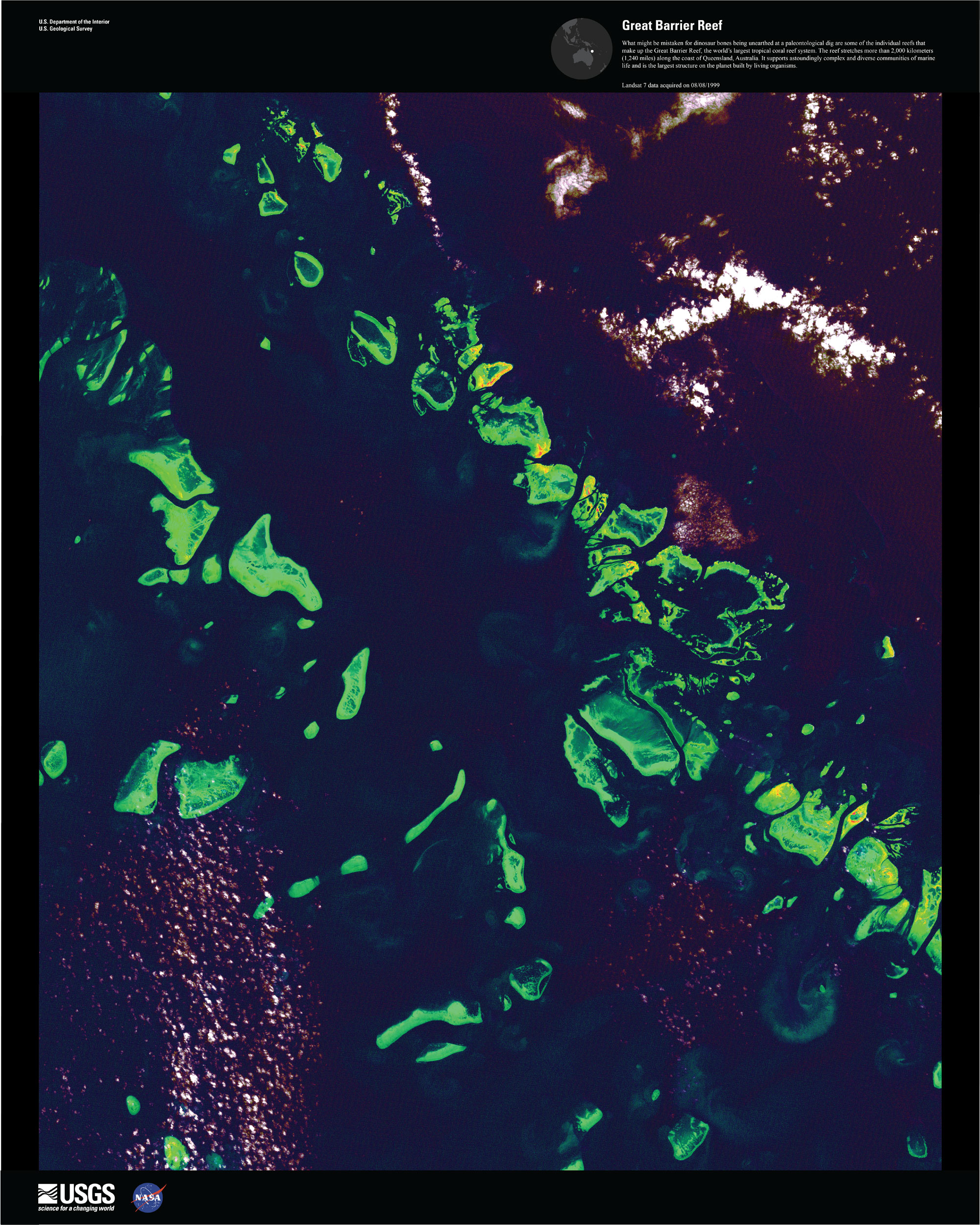 Satellite image of the Great Barrier Reef