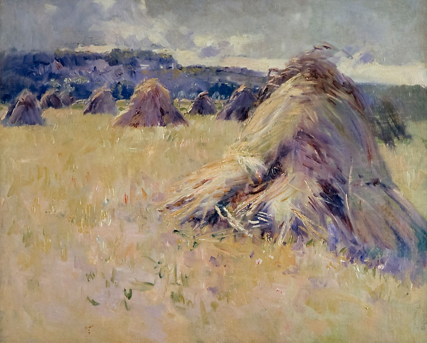 An impressionist painting of haystacks in a field.