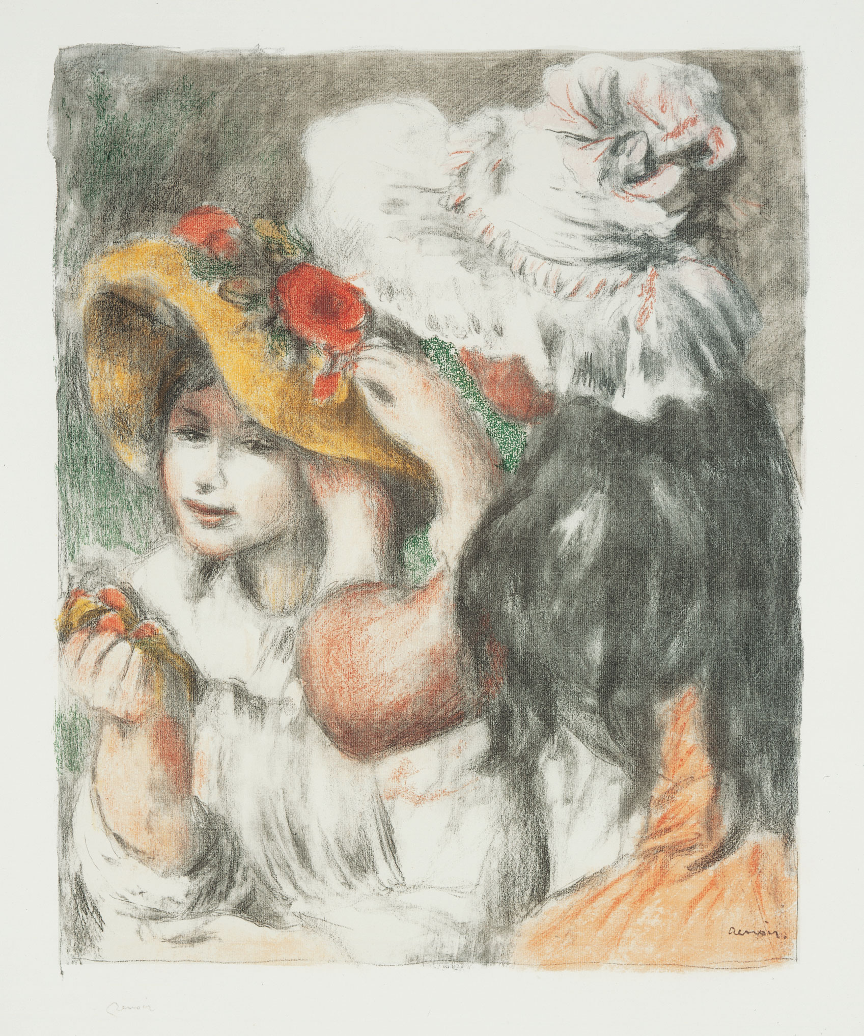 An older girl pins a flower on the hat of a young girl.