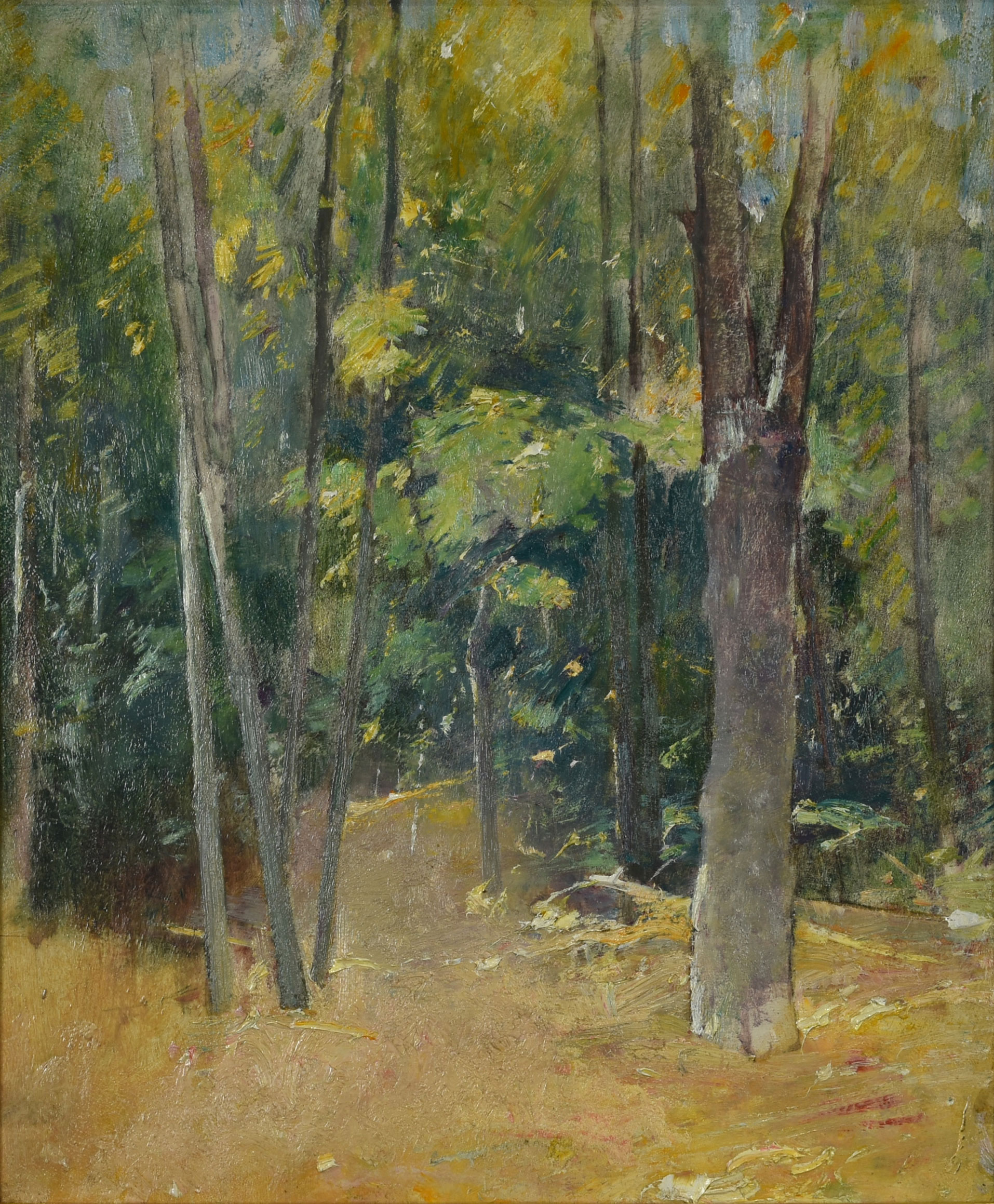 A landscape painting of a thicket.