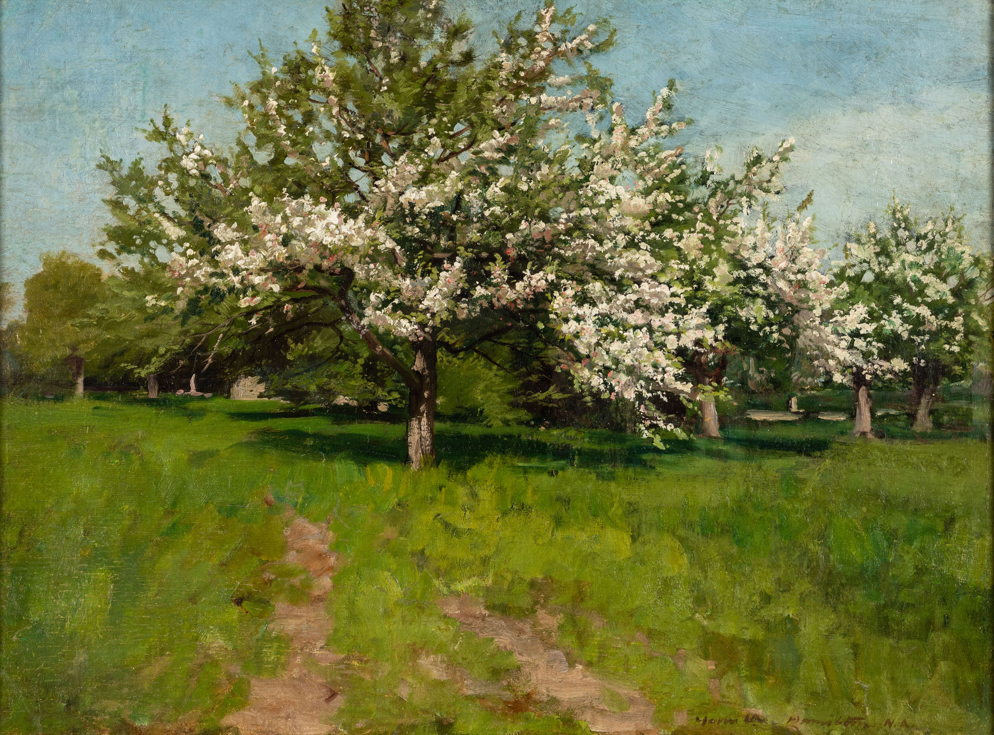 A landscape painting of a lush apple orchard in spring.