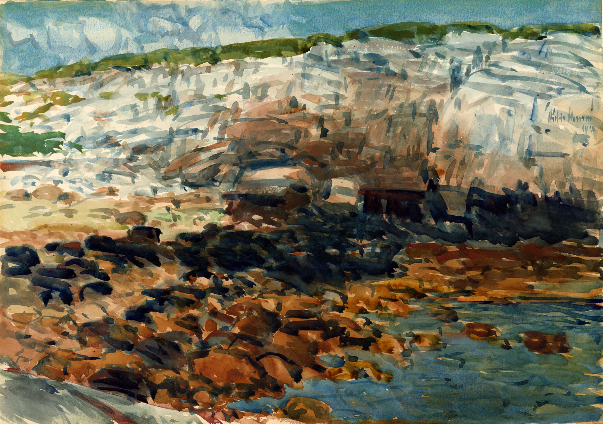 An impressionist painting of a sea cove.