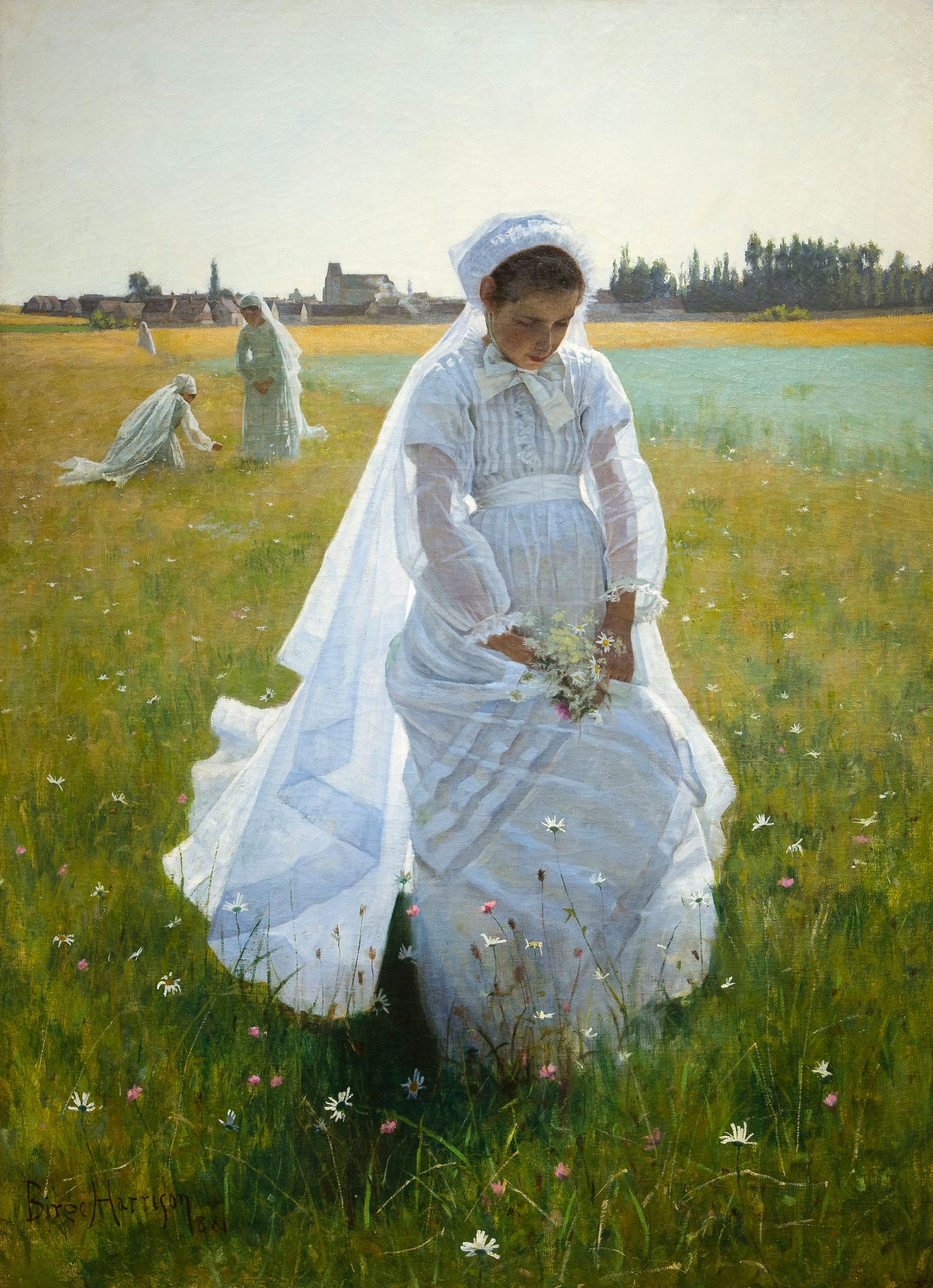 A young girl walks across a field, head down, wearing a communion gown.