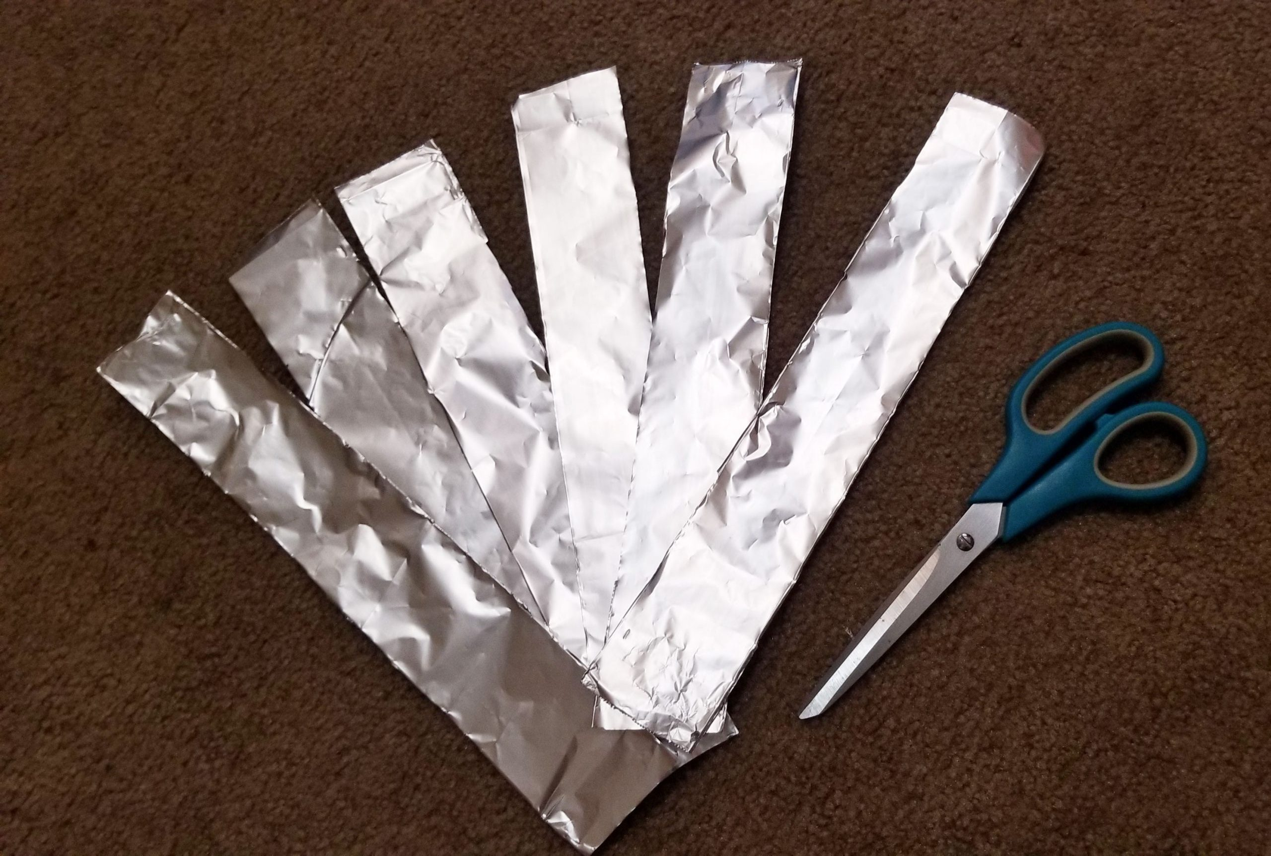 Aluminum foil cut into thin strips.