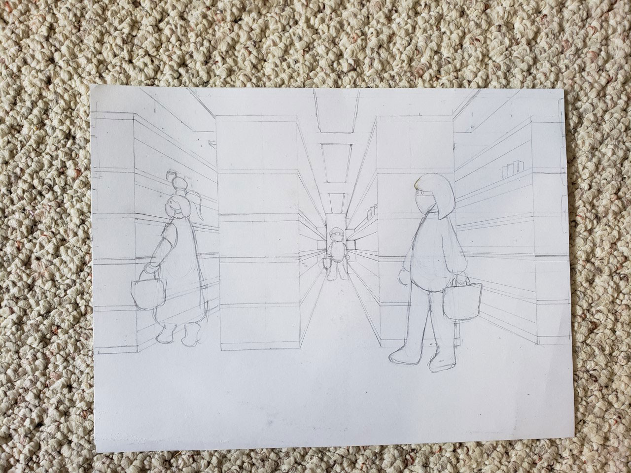 Pencil sketch of people shopping in a store and wearing masks.