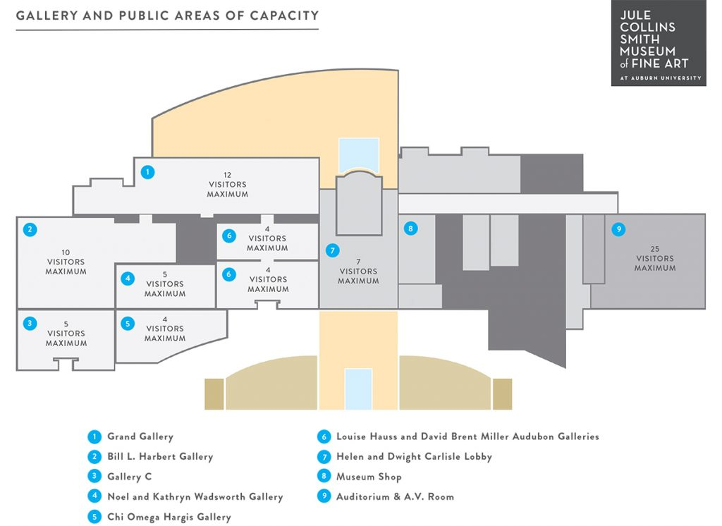 A map illustrating gallery capacity