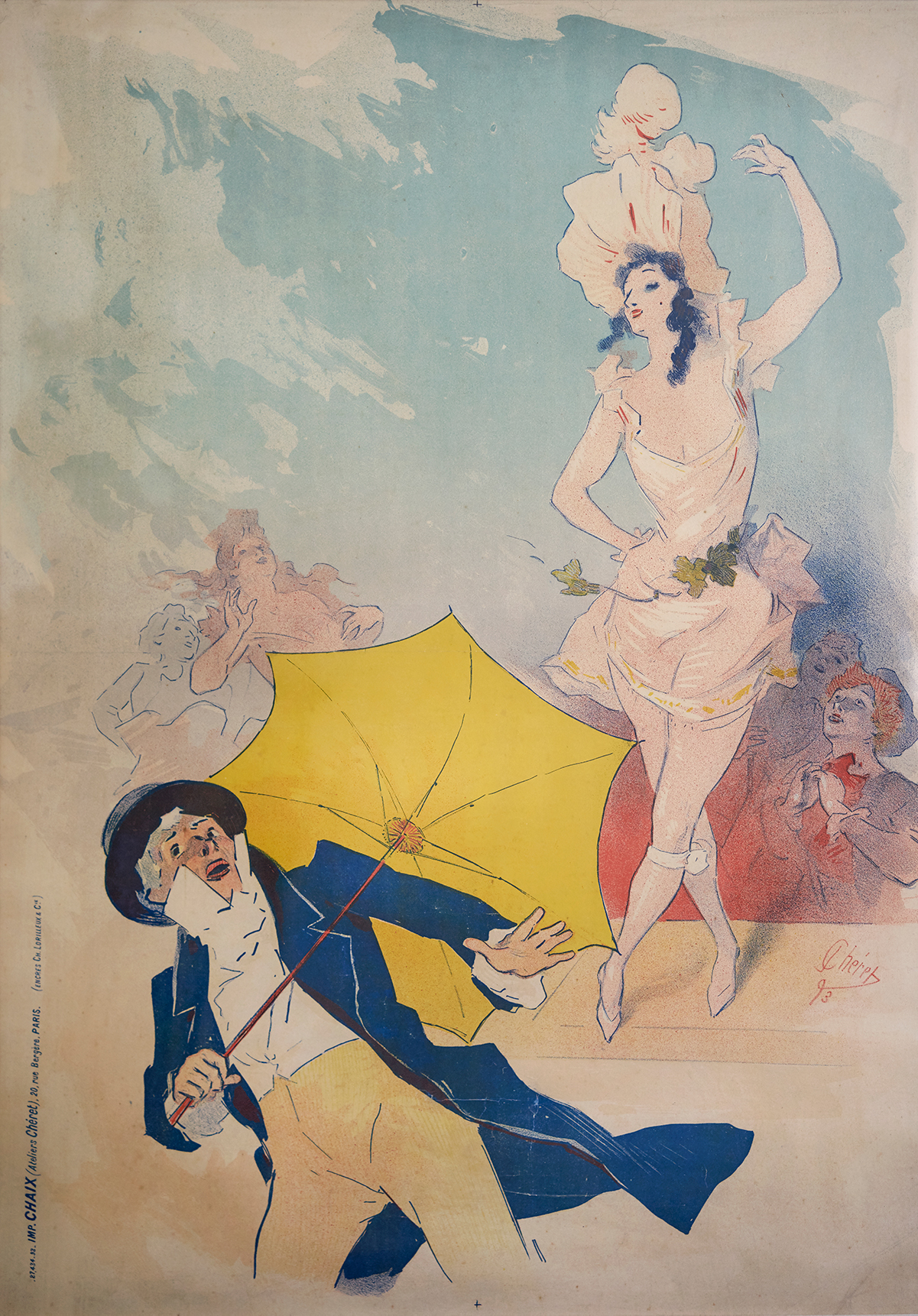A dancer performs for a man holding an umbrella.