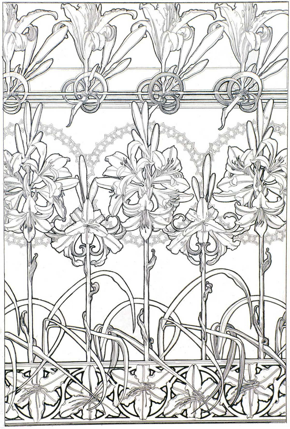 A coloring page of flowers