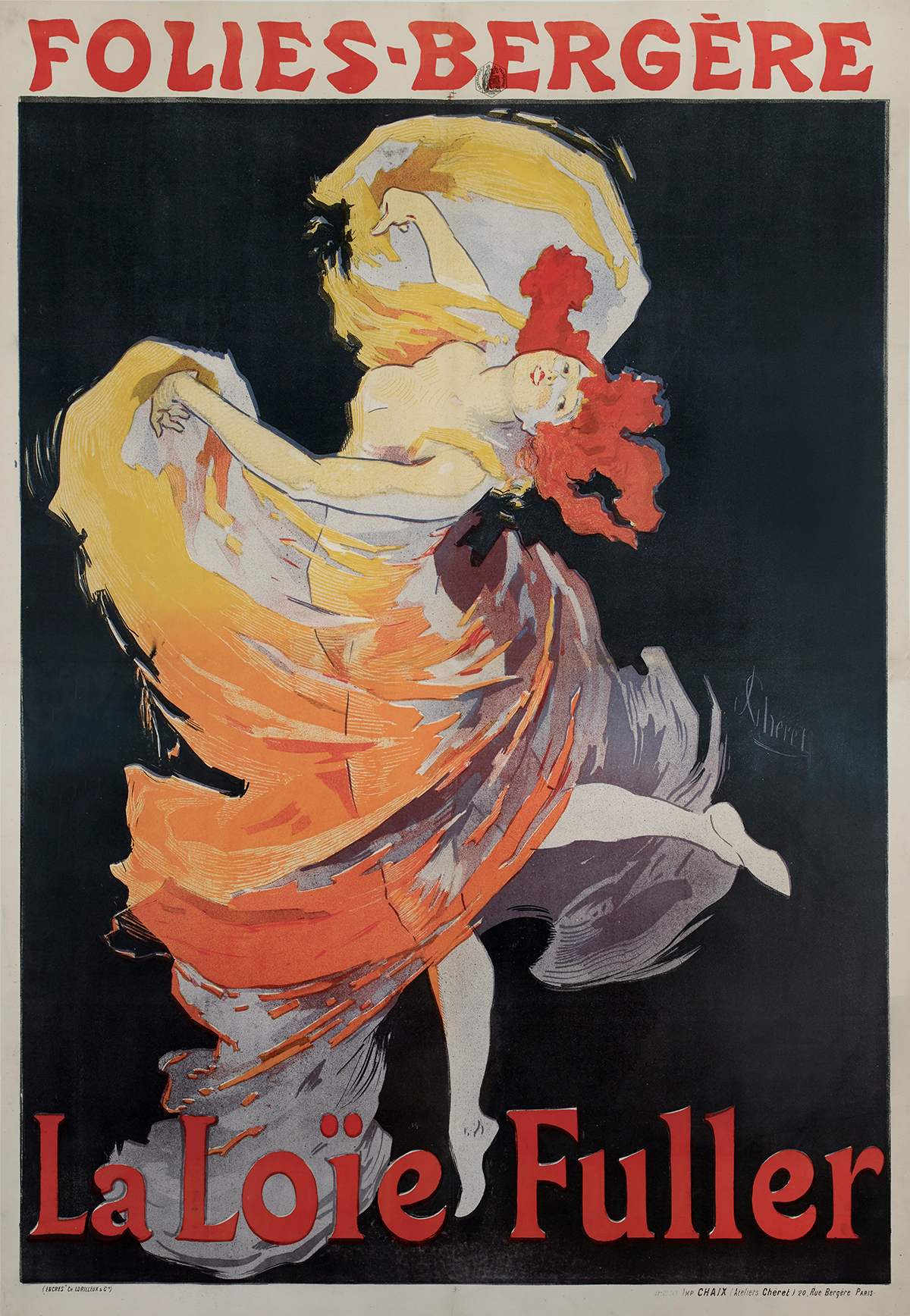 Color lithograph of a woman dancing with a flowing gown