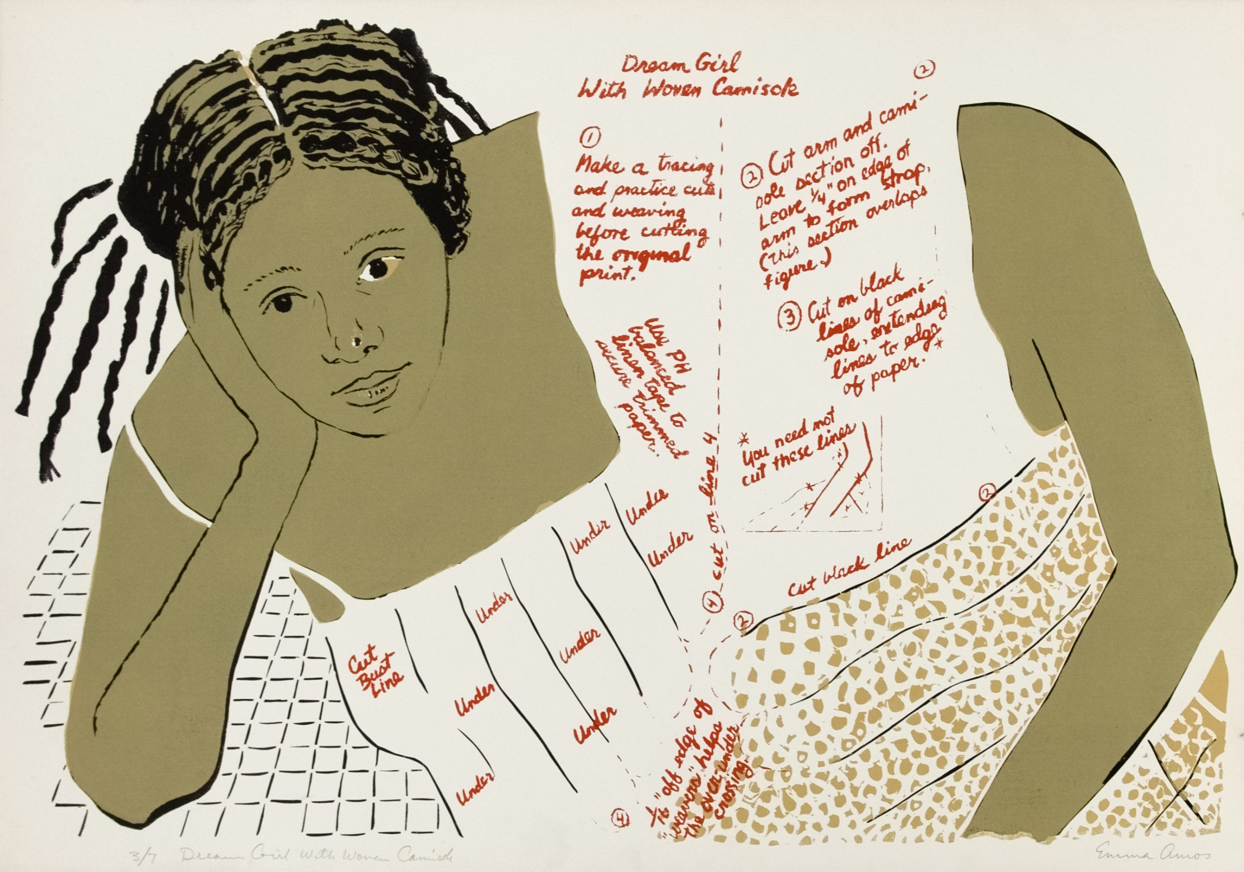A Black girl leans on her hand, with paper doll dimensions written on her dress.