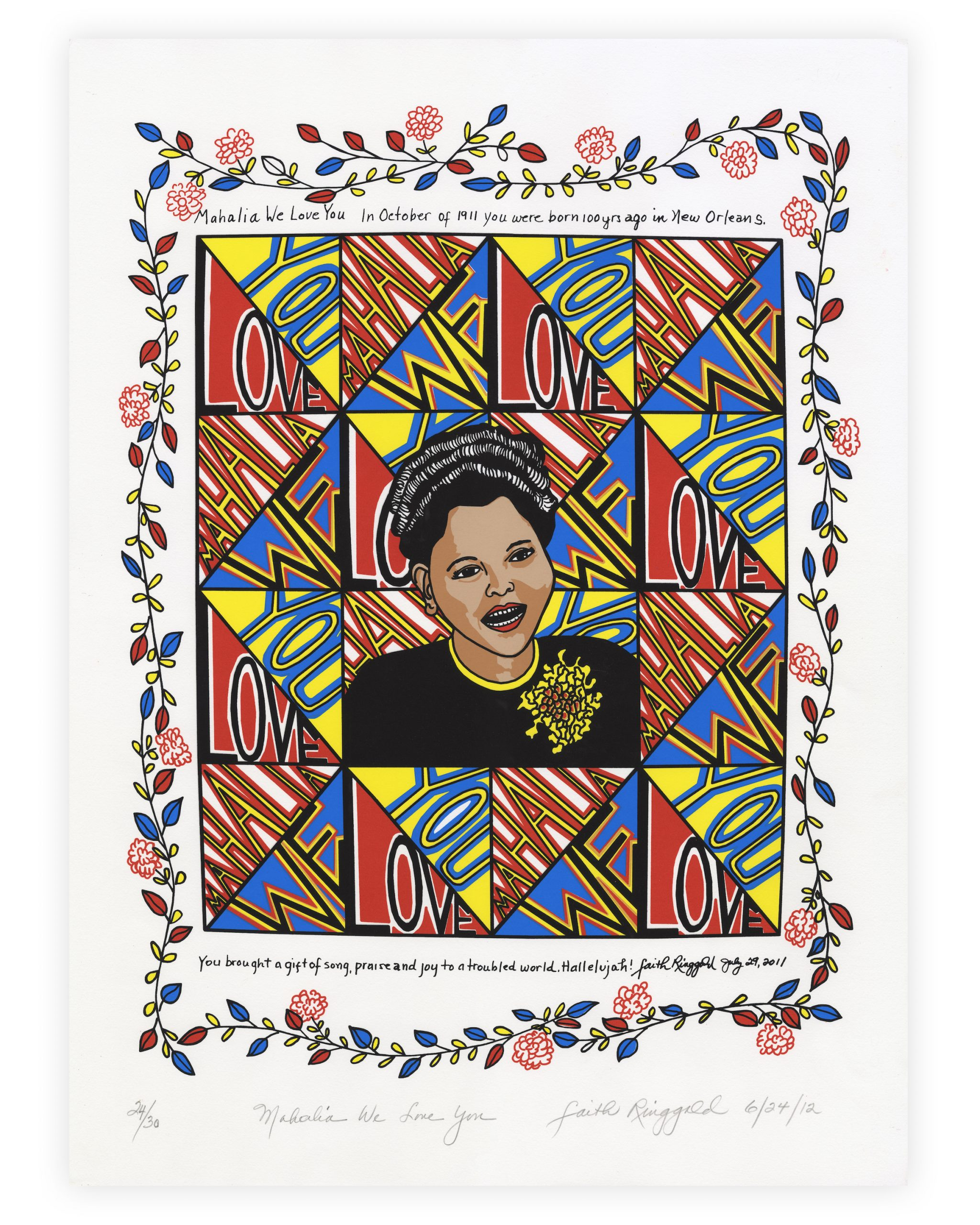 """A portrait of singer Mahalia Jackson, surrounded by the phrase """"We Love You"""" and flowers."""