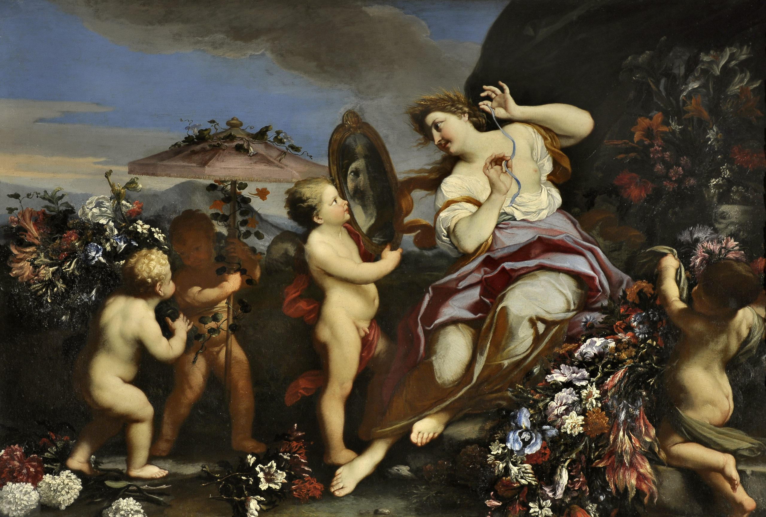 A woman, surrounded by flowers and cherubs, gazes into a mirror