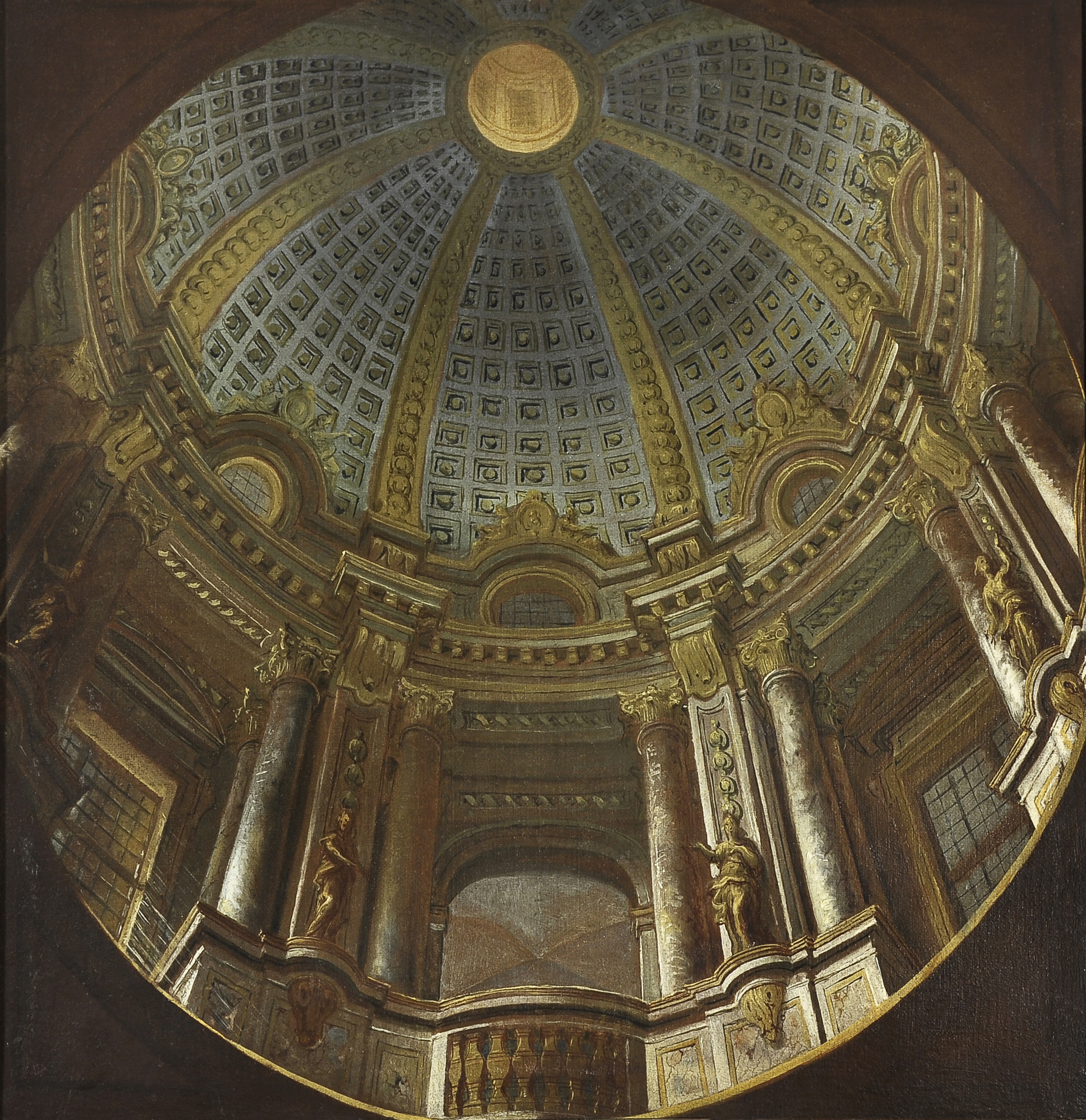 A view from below of an ornate dome, with columns and sculptures