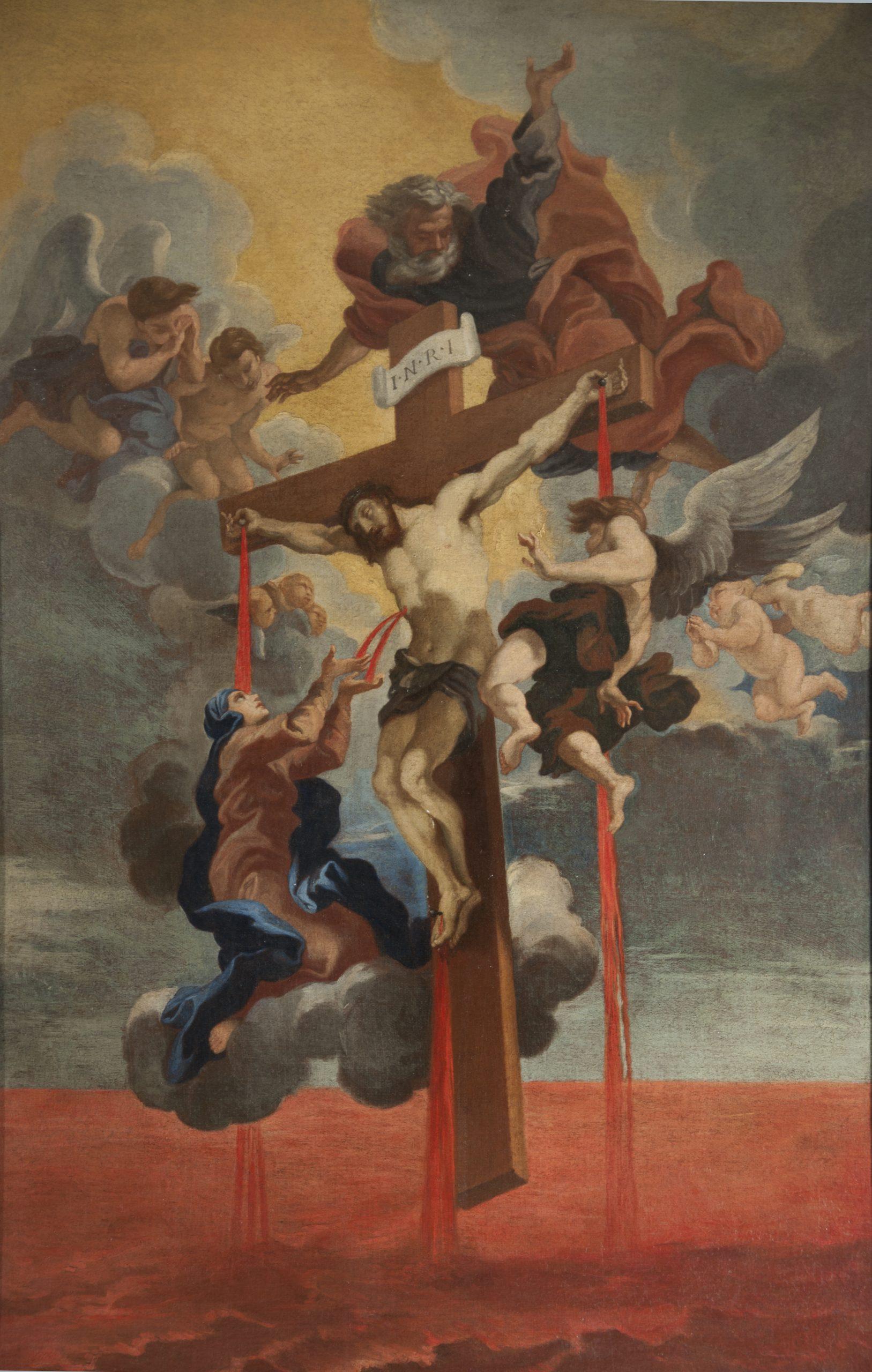 Jesus hangs on a cross in midair.