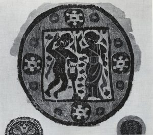 Egyptian tapestry roundel with Orpheus and Apollo, 5th–6th century CE