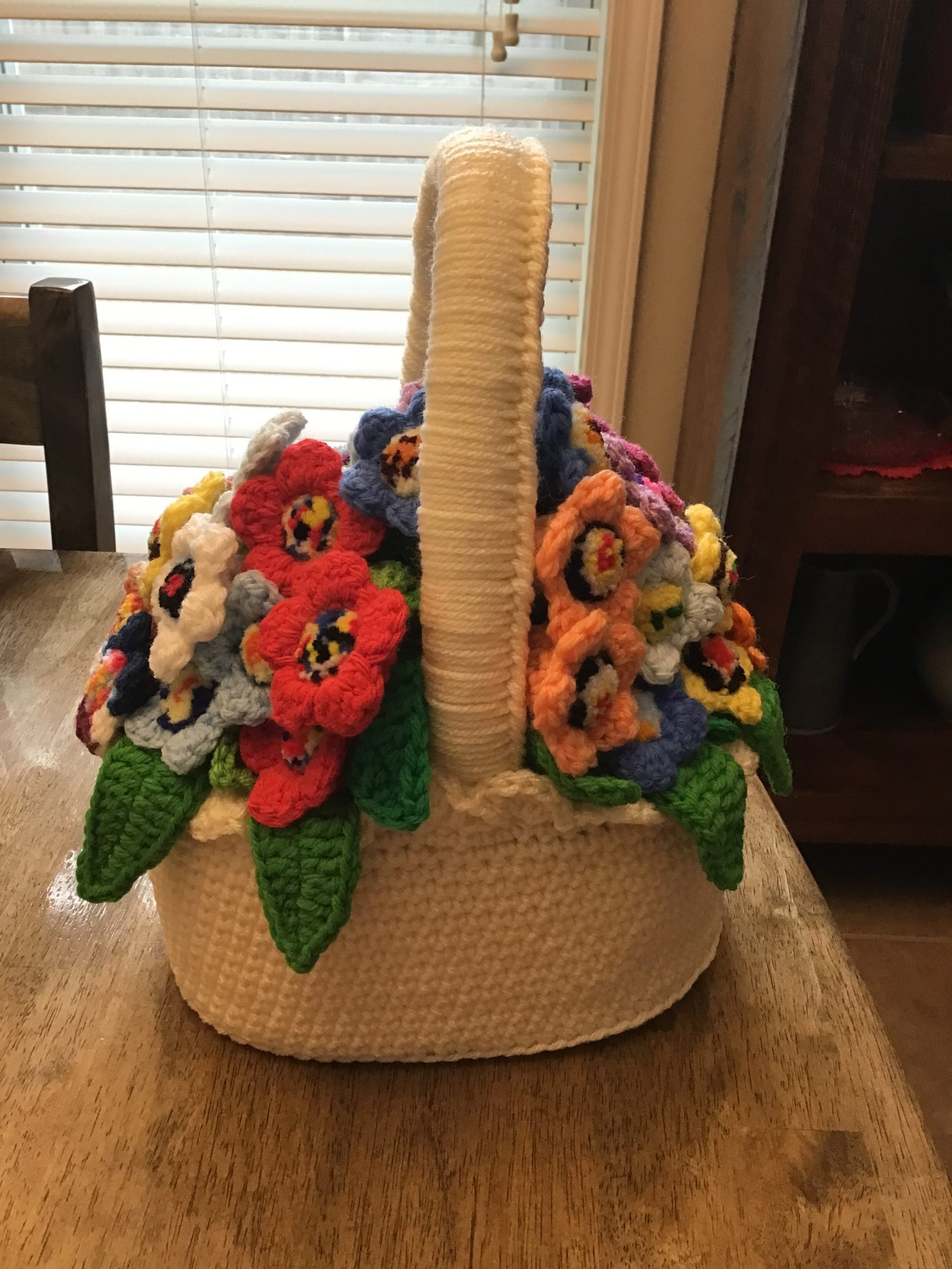 A soft basket of handmade flowers
