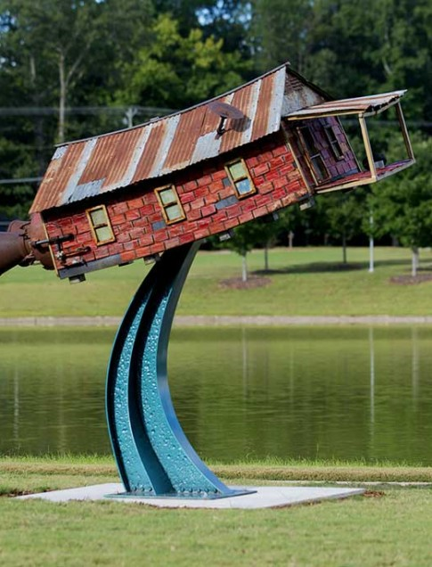 Robbie Barber  (Texas, b. 1964)  Dreams of Flying , 2011  Welded steel, paint, found objects  Honorable Mention Award