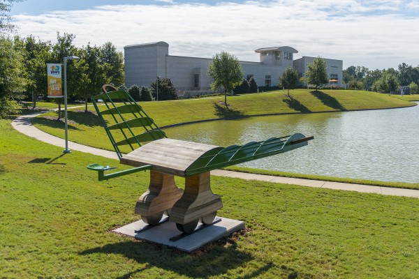 First Place: Kurt Dyrhaug (Texas, b. 1966), Large Tractor Wing, 2012, steel and cypress