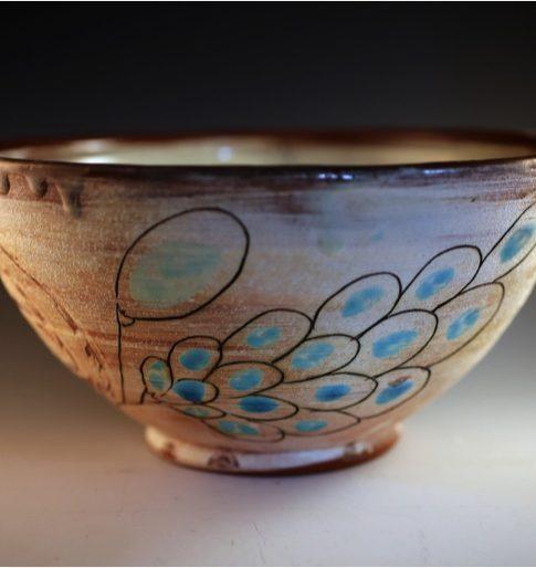 Maria Dondero (Athens, Georgia, b. 1981)  Blue Flower Bowl, 2014  Earthenware, slip, glaze  4 H x 8 ½ W x 8 ½ D inches