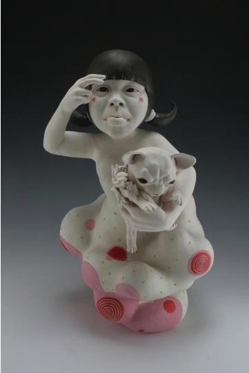 Kyungmin Park (Auburn, Alabama, b. 1985)  My Preciousness, 2012  Porcelain, under glaze, glaze, resin  23 H x 12 W x 12 D inches