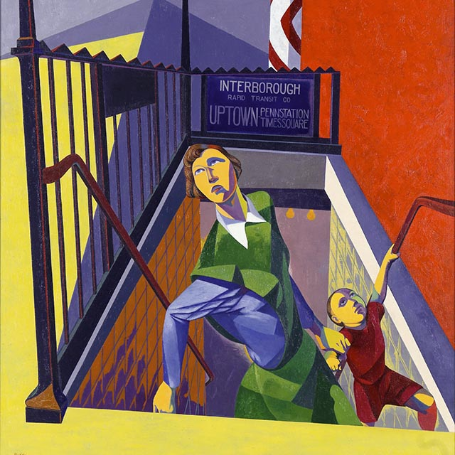 A woman, exiting the subway, pulls a young boy by his arm.