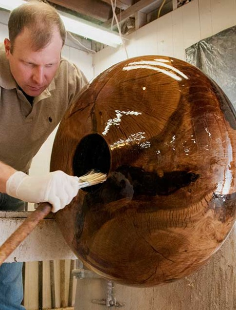 Following additional shaping and sanding, a special finish is applied.