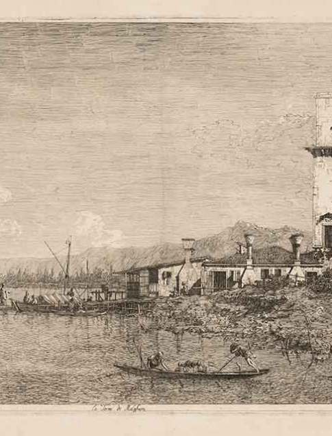 Giovanni Antonio Canal, called Canaletto (Italian, 1697–1768) La Torre di Malghera (The tower at Marghera) From Vedute, Altre prese da i Luoghi altre ideate, da Antonio Canal (Views, some representing actual sites others imaginary, by Antonio Canal), 1735–46 Etching with additions and strengthening in the sky, tower, fishermen, boats and gondola Second state of two Courtesy Pia Gallo