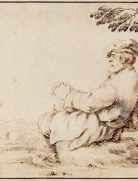Stefano della Bella (Italian, 1610–1664) A Man Seated Under a Tree Pen and brown ink Courtesy Richard A. Berman