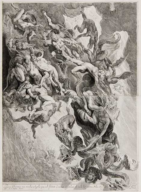 Pieter Claesz. Soutman (Dutch, 1580–1657) After Peter Paul Rubens (Flemish, 1577–1640) The Fall of the Damned, 1642 First state of two Etching and engraving on two joined sheets Courtesy David Tunick, Inc.