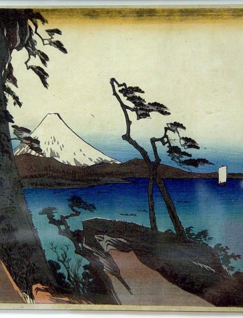 Utagawa Hiroshige (Japanese, 1797 - 1858), 16th Station: Yui, circa 1833-4 from Fifty-Three Stations of the Tokaido Road, woodblock print, courtesy of Reading Public Museum, Reading, Pennsylvania
