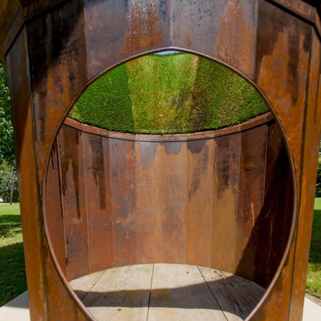 Mike Wsol (Georgia, b. 1973), Lost Horizon #2, 2013, steel and artificial grass, ca. 120 x 120 x 120 inches
