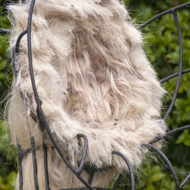 Joni Younkins-Herzog (Florida, b. 1969), Delirium, 2013, steel, abaca fiber, artificial human hair, and audio, ca. 94 x 42 x 42 inches