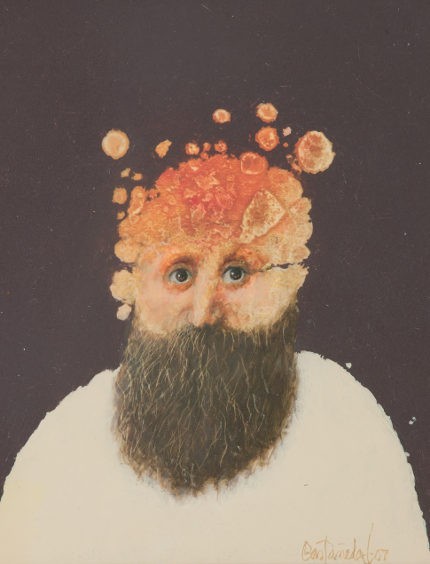 Alfredo Castañeda, Too Much Philosophy, 2007 oil, pencil on paper mounted on cardboard, 7 5/8 x 7 5/8 in., Collection of Jackye and Curtis Finch, Jr.