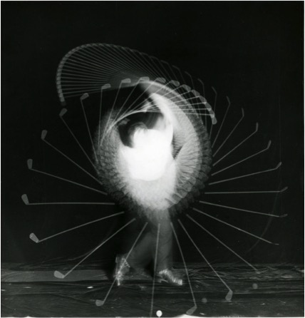 """Harold Eugene """"Doc"""" Edgerton (American, 1903–1990) Golf Swing, ca. 1938 Vintage ferrotyped gelatin silver print Inscribed in pencil on verso: """"Ball hit on toe of club"""" and """"Simpson"""" Courtesy of Charles Isaacs Photographs"""