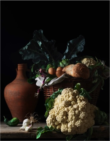 Paulette Tavormina (American, b. 1949) Still Life with Cauliflower and Bread, after L.M., 2014 From the series Bodegón Edition: 5 Archival pigment print Signed, titled, dated, and numbered on verso Courtesy of Robert Mann Gallery