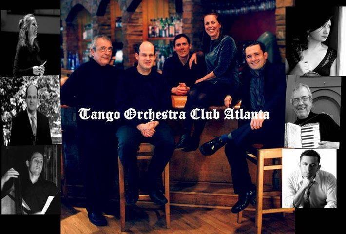 Members of the Tango Orchestra Club Atlanta pose for a group photograph.
