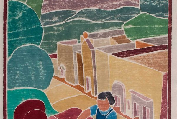 Artwork depicting life in a Mexican village.