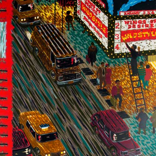 Detail of print depicting Times Square, cars and movie marquee