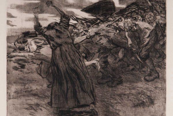 Print depicting a scene of a revolt