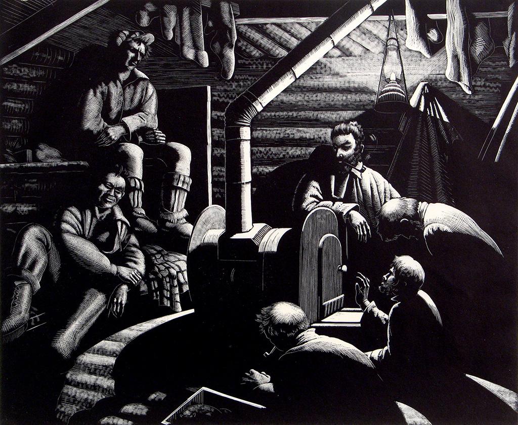 Lumberjacks retiring for the evening in a cabin.