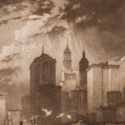 Detail of the New York City skyline with light shining down.