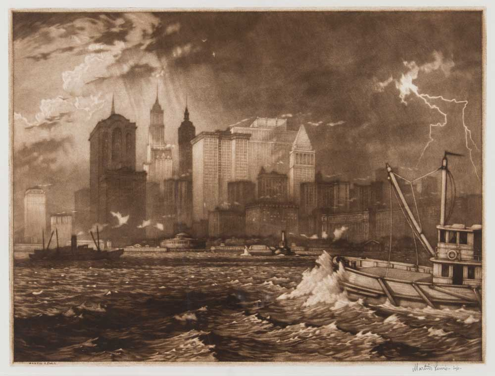 Print of New York City during a storm.