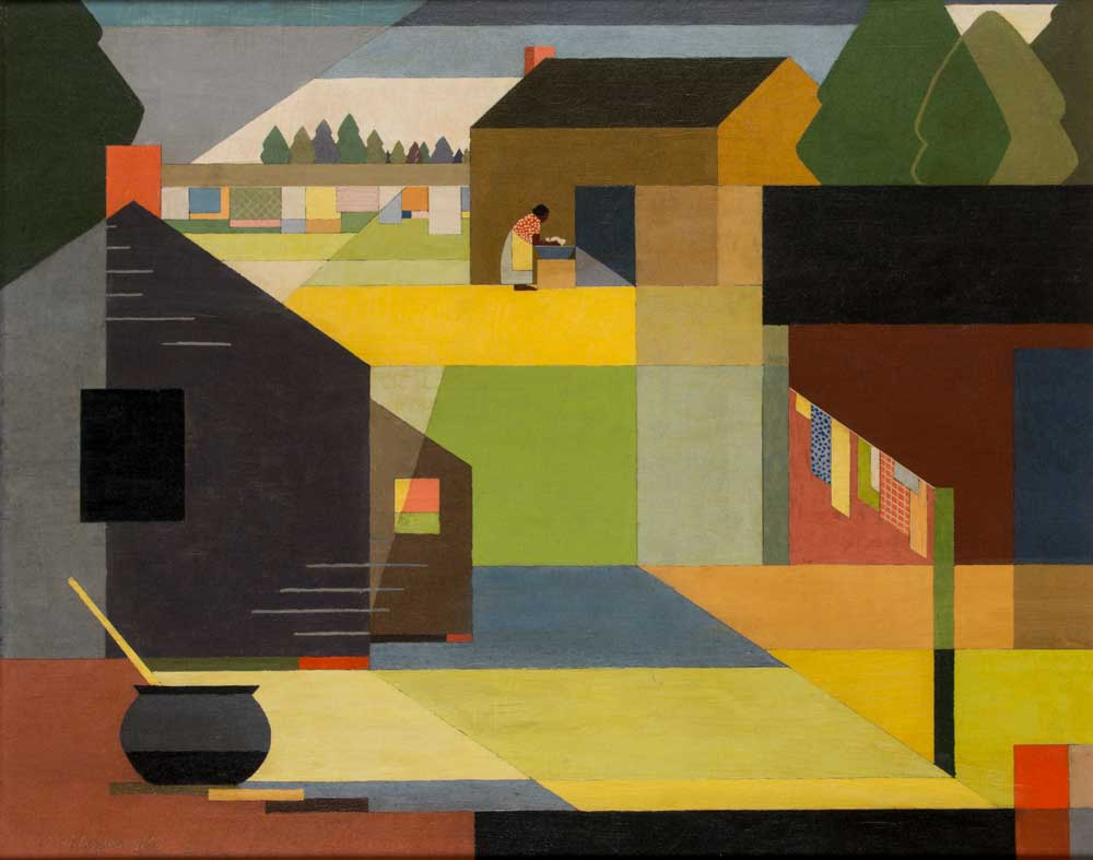 Cubist-inflected oil painting of a landscape