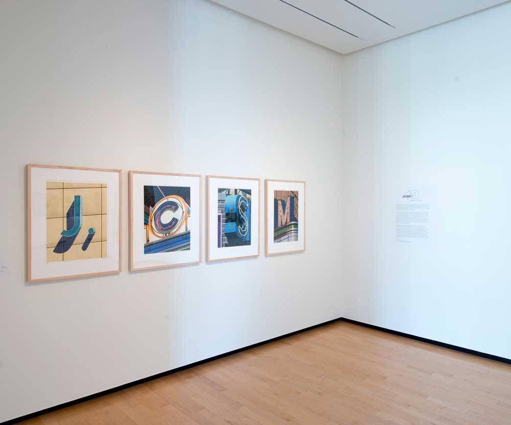 Installation of Robert Cottingham's alphabet letters JCSM in JCSM at 10 exhibition.