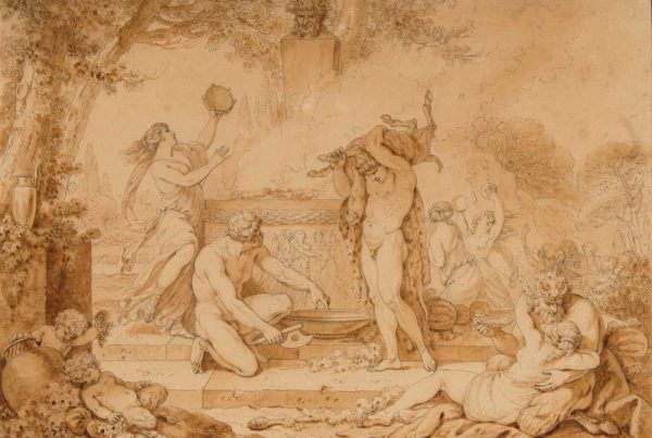Pen and ink drawing depicting Bacchus with a faun and satyr.