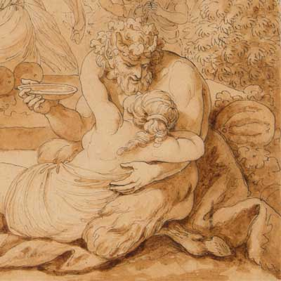 Bacchus with a faun and satyr
