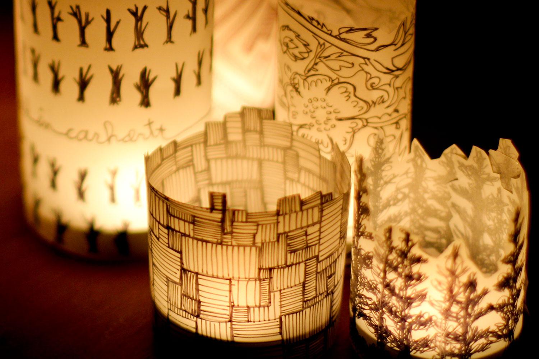 Paper lanterns glow.