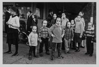 Jewish children gather on the corner